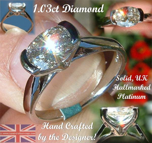 Handcrafted from Platinum set with a Fiery 1ct Oval, I, SI1 Diamond