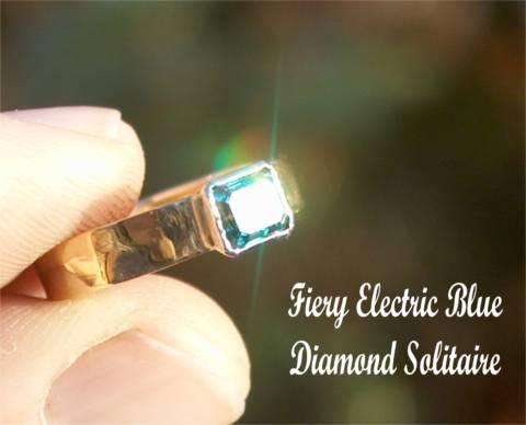 Stylish Unique Blue Diamond Solitaire in 18ct Gold