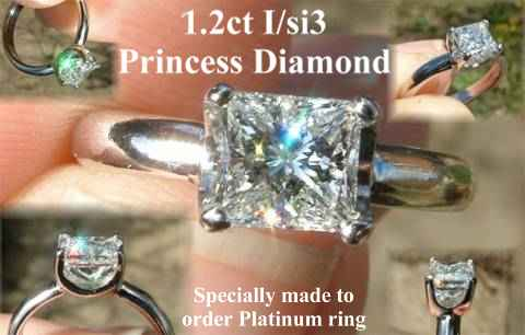 Custom made in Platinum Princess Diamond ring