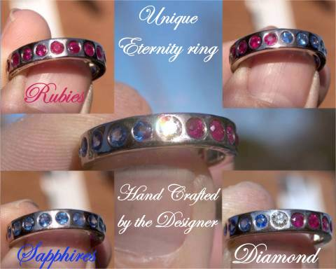 Handcrafted & Unique Diamond, Sapphire & Ruby white Gold eternity ring