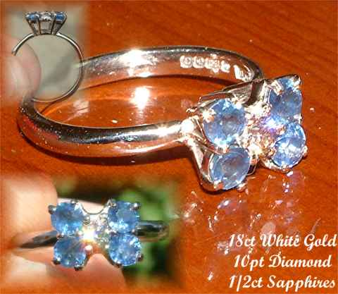 Dainty handmade Sapphire and Diamond butterfly ring in 18ct White Gold