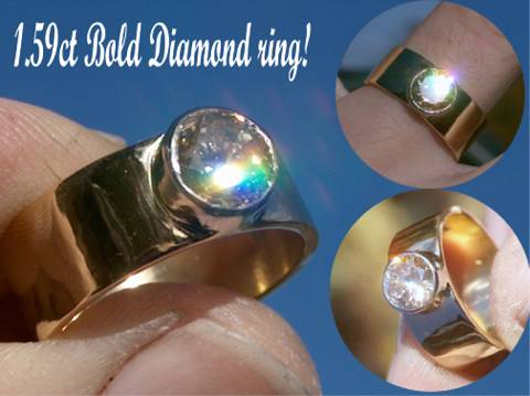 Bold Gents Diamond ring handmade from 18ct yellow gold