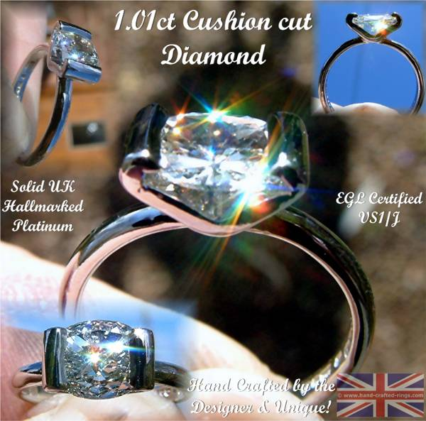 Hand made from Platinum a superb Cushion cut solitaire Diamond ring