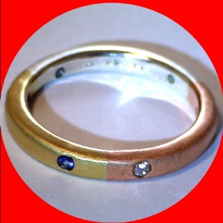 SOLD! 22ct Gold, Pure Silver, Pure Copper, Diamond, Emerald, Ruby and Sapphire Ring